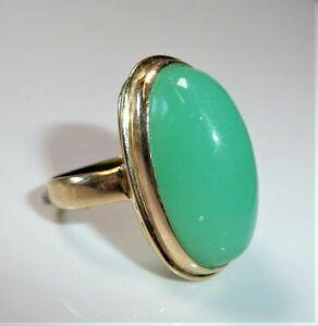 585 Ring Gelbgold Chrysopras Gr:53-54 / 16,8 -17,2 mm - änderbar  7.0 gr.