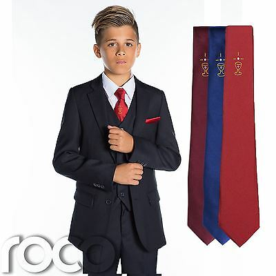 Burgundy Chalice Tie Boys Navy Suit Blue Boys Communion Suit 5-13 years Red
