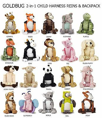 TODDLER CHILD GOLDBUG HARNESS BUDDY REINS 2 IN 1 WALKING SAFETY HARNESS BACKPACK