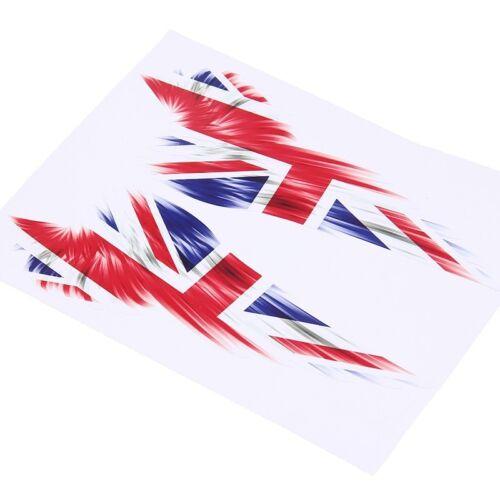 1Pair American German UK Flag Wing Motorcycle Body Rearview Mirror Decal Sticker