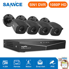 SANNCE 4CH 1080P CCTV DVR 3000TVL HD IR Outdoor Home Security Camera System APP