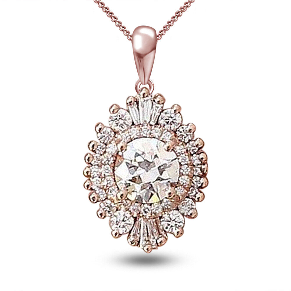 Women's Round DVVS1 Diamond Solitaire Halo Solid 14K pink gold Over Pendant
