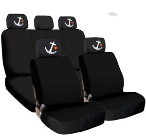 Image Is Loading New Black Cloth Car Seat Covers Embroidery Anchor