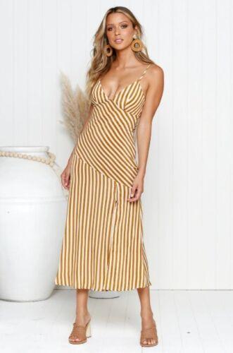 BNWT Mustard /& Beige Asymmetric Stripe Midi Cocktail Slip Dress size 6 8