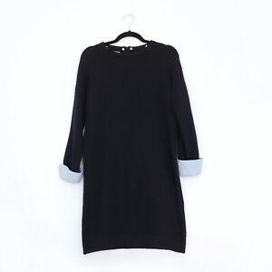 Hobbs-London-Groesse-12-Natalia-Marineblau-Wolle-Blend-Strickkleid-Shirt-Armel