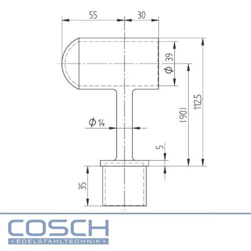Edelstahl Endträger geschlossen für Holzhandlauf Ø 45,0 mm V4A geschliffen