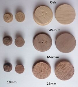 SOLID WOOD Oak Cover Caps for 10mm 15mm 20mm 25mm 30mm HOLE Press fit in Wooden