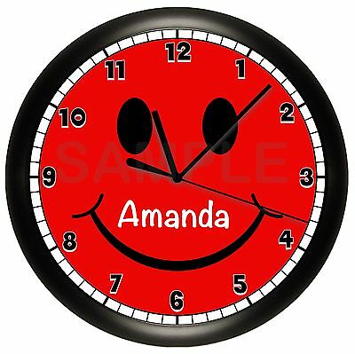 SMILEY FACE WALL CLOCK PERSONALIZED RED CHILDREN\'S BEDROOM DECOR YELLOW  SMILE | eBay
