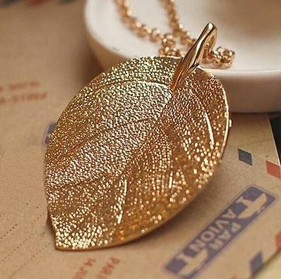 Hot Sell Fashion Womens Gold color Long Chain Thick Leaf Pendant Charm Necklace