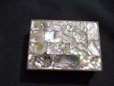 Abalone Brass Trinket Box Rose Wood Lining Mother of Pearl