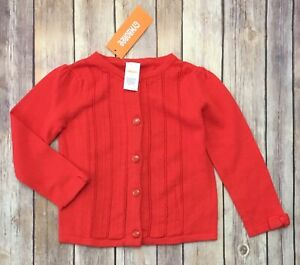 NWT-Gymboree-Sweater-Size-2T-Girls-MOD-ABOUT-ORANGE-red-knit-bow-sleeve-button