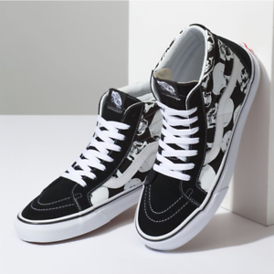 Image is loading VANS-Sk8-Hi-Reissue-Skulls-Black-True-White- 3f5e84903