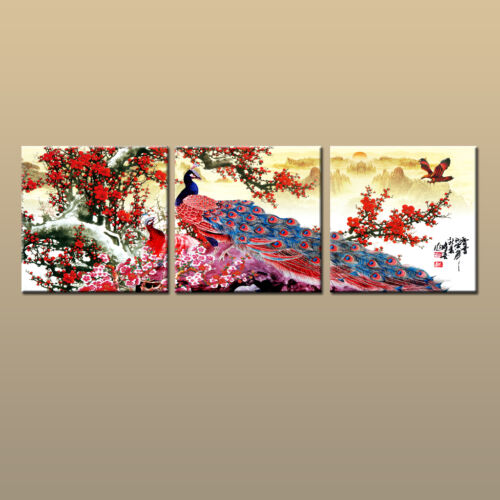 Large Feng Shui Art Wall Abstract Peacock Home Decor HD Picture Printed Canvas