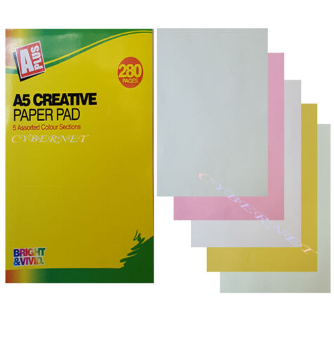 A5 250 pages Activity Creative Paper Pad With 5 Colours Sheets Arts Crafts