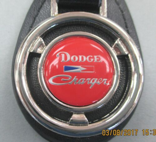 Vintage Red Dodge CHARGER Mini Steering Wheel Black Leather Key Ring Key Fob