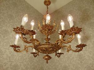 antik grosser 12 fl  Kronleuchter Lüster Deckenlampe Bronze Gold ca.1920