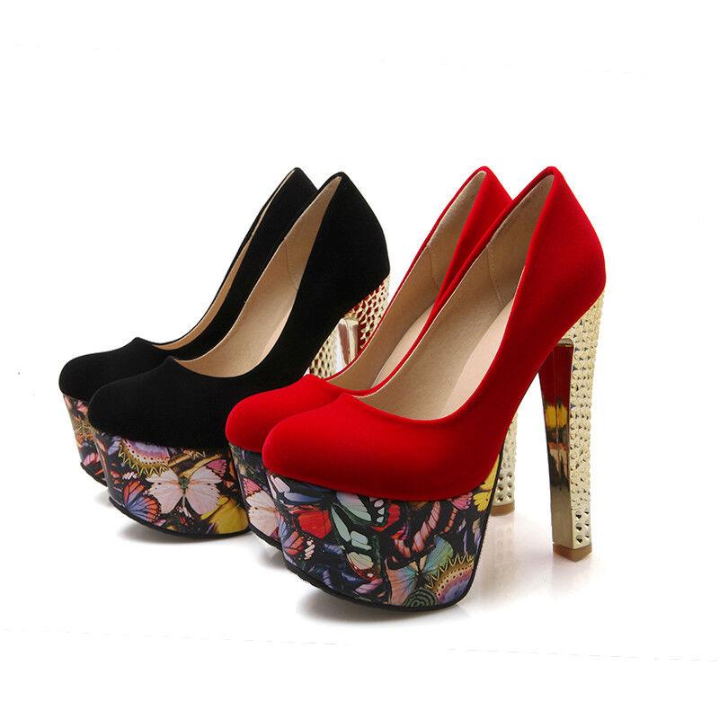 Femmes Clubwear Chaussures Compensées En Daim Synthétique Talons Hauts Fête Escarpins US Taille S634