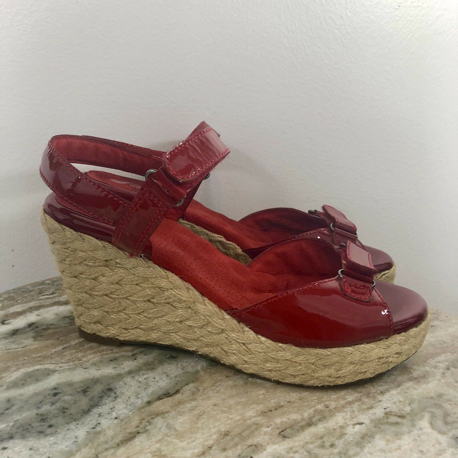 Softwalk Women's Dress Sandals 9w Wide Patent Leather Wedge Rope Comfort Red