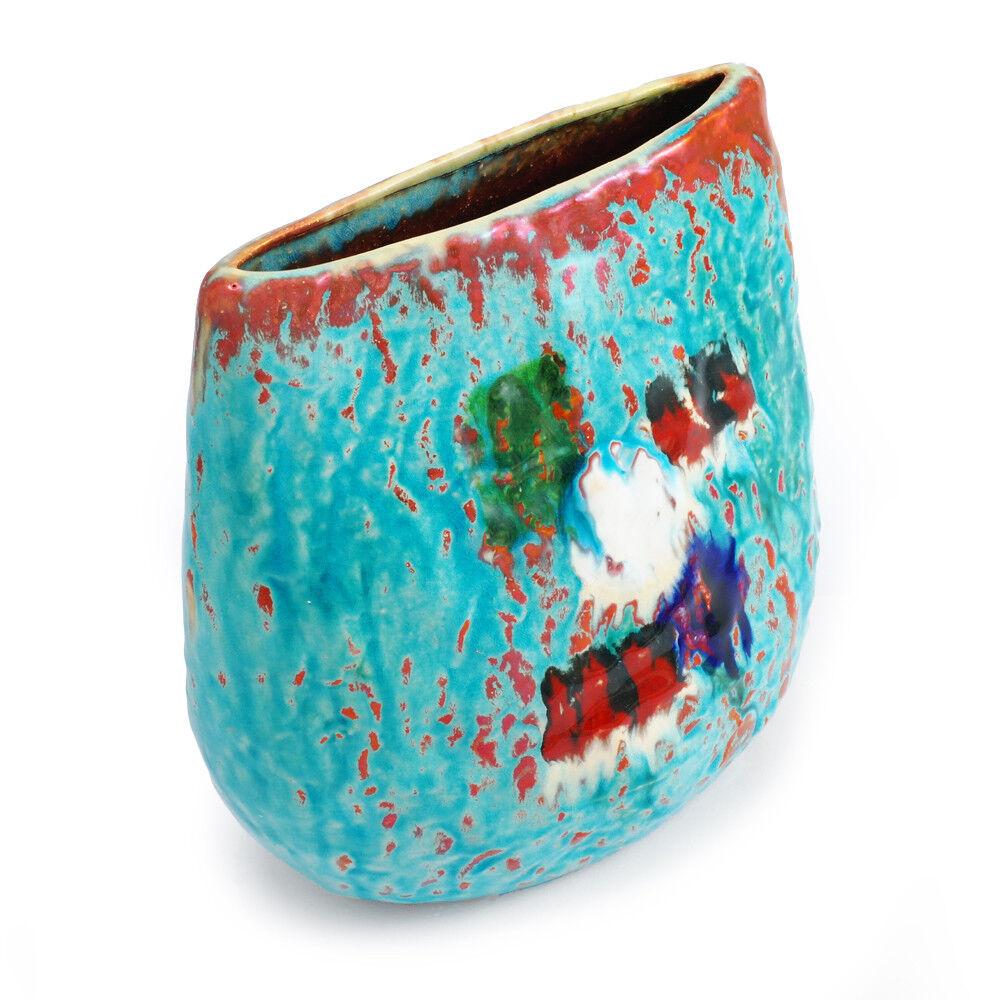 Faenza türkisfarbene handgegertigte Keramikvase mit geometrischen Mustern
