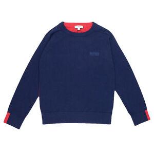 Hugo-Boss-Jungen-Strickpullover-Baumwolle-blau-rot-Langarmschirt-Sweater-NP-116