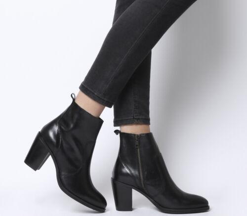 Femme Bureau Aberdeen Sans Doublure Talon Bloc Bottes Noir Bottes en cuir