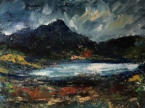ORIGINAL-PAINTING-Acrylic-On-Canvas-Welsh-Lake-Scene-40x30cm