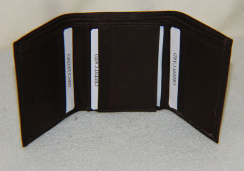 NEW Men Genuine Leather Brown Trifold Wallet w//Center Flap 44 Tri-Fold