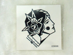 c8a3d8a09 Tattoo temporary tattoo old school graphic head gitane gypsy 6 x 6 cm ...