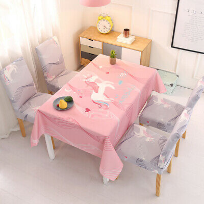 Ikea Eetkamer Stoelhoezen.Tablecloth Dining Chair Covers Set Unicorn Printed Stretch Table