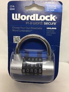 Wordlock 2-1//2 in 5-Dial Combination Steel Padlock