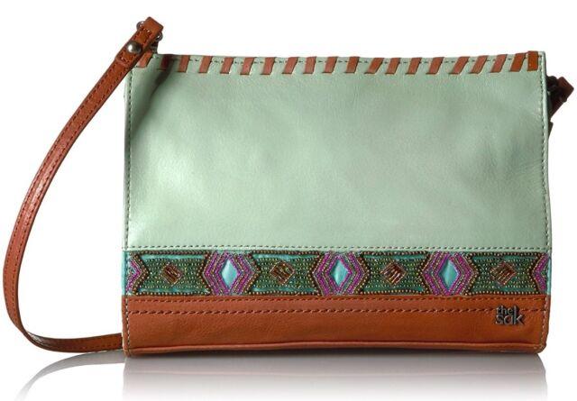 THE SAK NWT  Mint Glass Beaded Iris Leather Crossbody Shoulder Bag Clutch