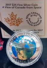 2017 Space View of Earth Canada Glow in Dark $25 1OZ Silver Coin Bondar Mission.