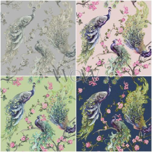 Holden Menali Peacock Glitter Wallpaper Grey Pink Green Floral Birds Blue
