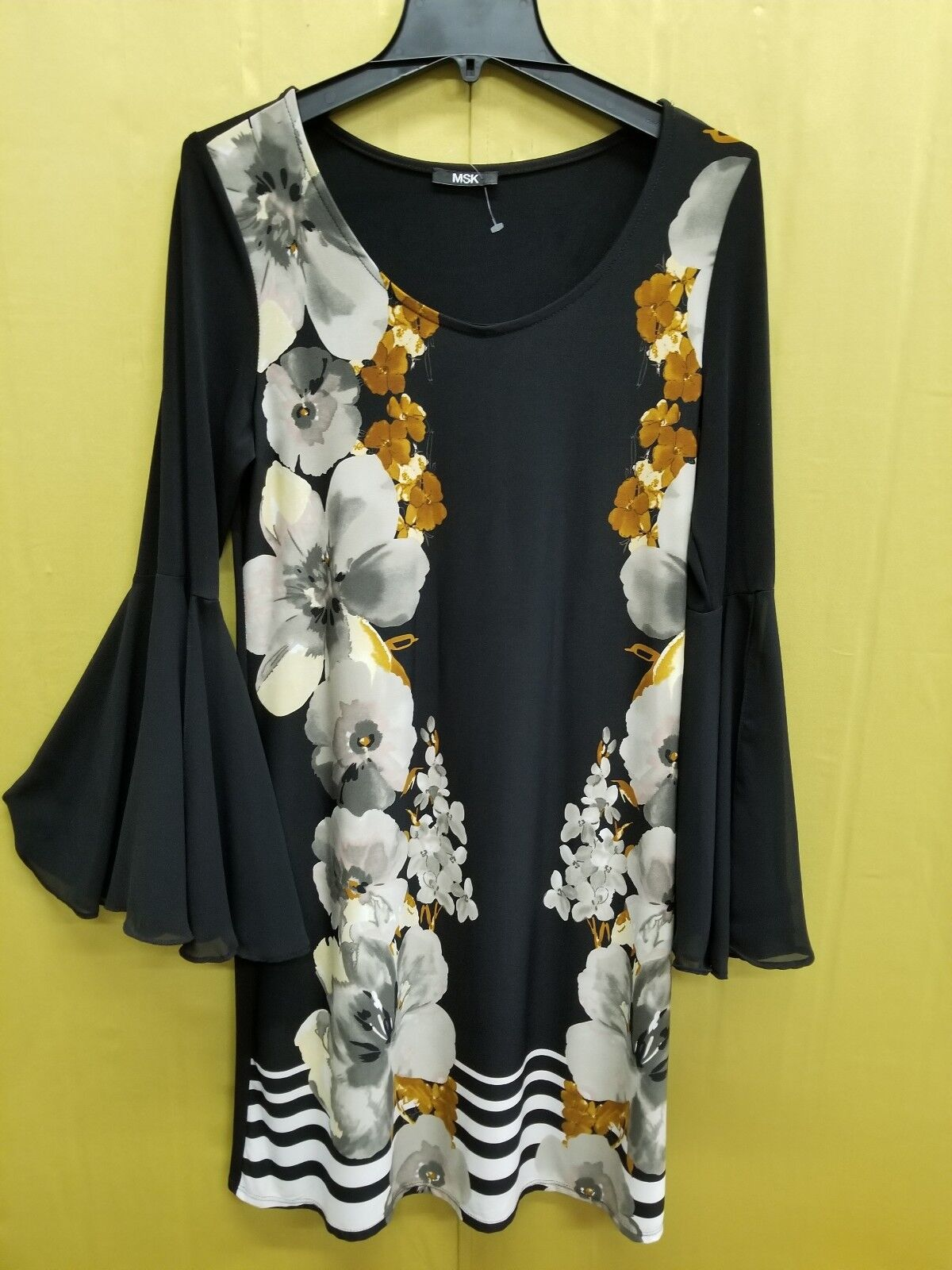MSK Womens Bell Sleeves Mini Daytime Casual Dress NEW