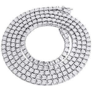 Mens-1-Row-White-Diamond-Necklace-Chain-925-Sterling-Silver-36-034-Fanook-Set-1-Ct
