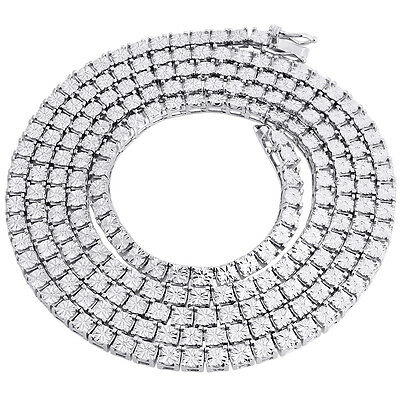 """Mens 1 Row White Diamond Necklace Chain .925 Sterling Silver 36"""" Fanook Set 1 Ct"""