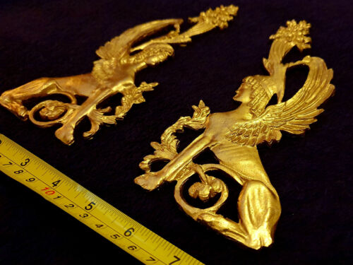PAIR DECORATIVE SPHINX MOULDING ANTIQUE ORNATE GOLD GILT WHITE WALL DECORATION