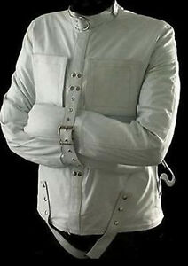 0e4d47c4df Details about MEN S REAL LEATHER WHITE HEAVY DUTY STRAITJACKET LEATHER  STRAIGHTJACKET