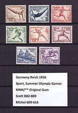 U0290) GERMANY REICH 1936 Sc B82-B89 Mi 609-616 MNH **, Sport, Olympic Games