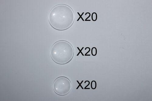 quantité au choix Lot de cabochon en verre transparent 3 diamètres 20-18-14mm