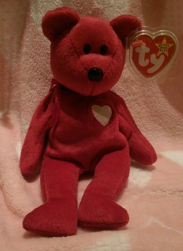 1998 1999 Red TY Bear, Valentina Rare Date Tag Label  Error Bear., Valentine