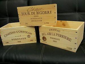 DéVoué 3 X Française Authentique Boîte De Vin En Bois Caisse Planter Shabby Chic Tiroirs Stockage-afficher Le Titre D'origine