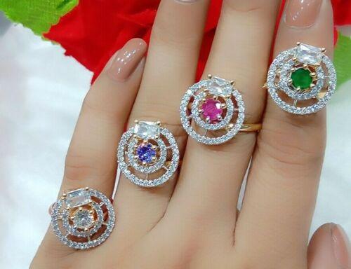 Anillos 4Pcs Multi Piedra ad Oro Tono Vestido Mujeres Pareja Regalo India Cóctel Fiesta
