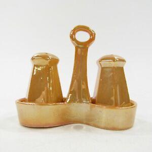 Vintage-Salt-Pepper-Shakers-Set-Japan-3-piece-set-Caddy-Orange-Lusterware-INV66