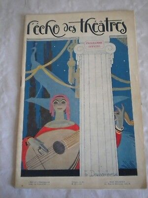 Hot Sale Vintage Programme Echo Des Theatres 1926-27 Art Deco Cover Henri Desbarbieux To Invigorate Health Effectively Art Deco Antiques