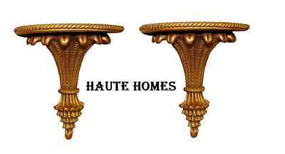 NEW VICTORIAN ORNATE GOLD ROPE ACANTHUS SHELF Wall DECOR SET/ 2