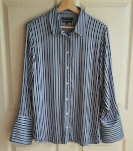 Something-Navy-Womens-Blue-Striped-Satin-Button-Down-Boyfriend-Top-Shirt-Size-XS