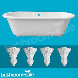 cambridge roll top freestanding bath 1690 x 780 white resin bath feet