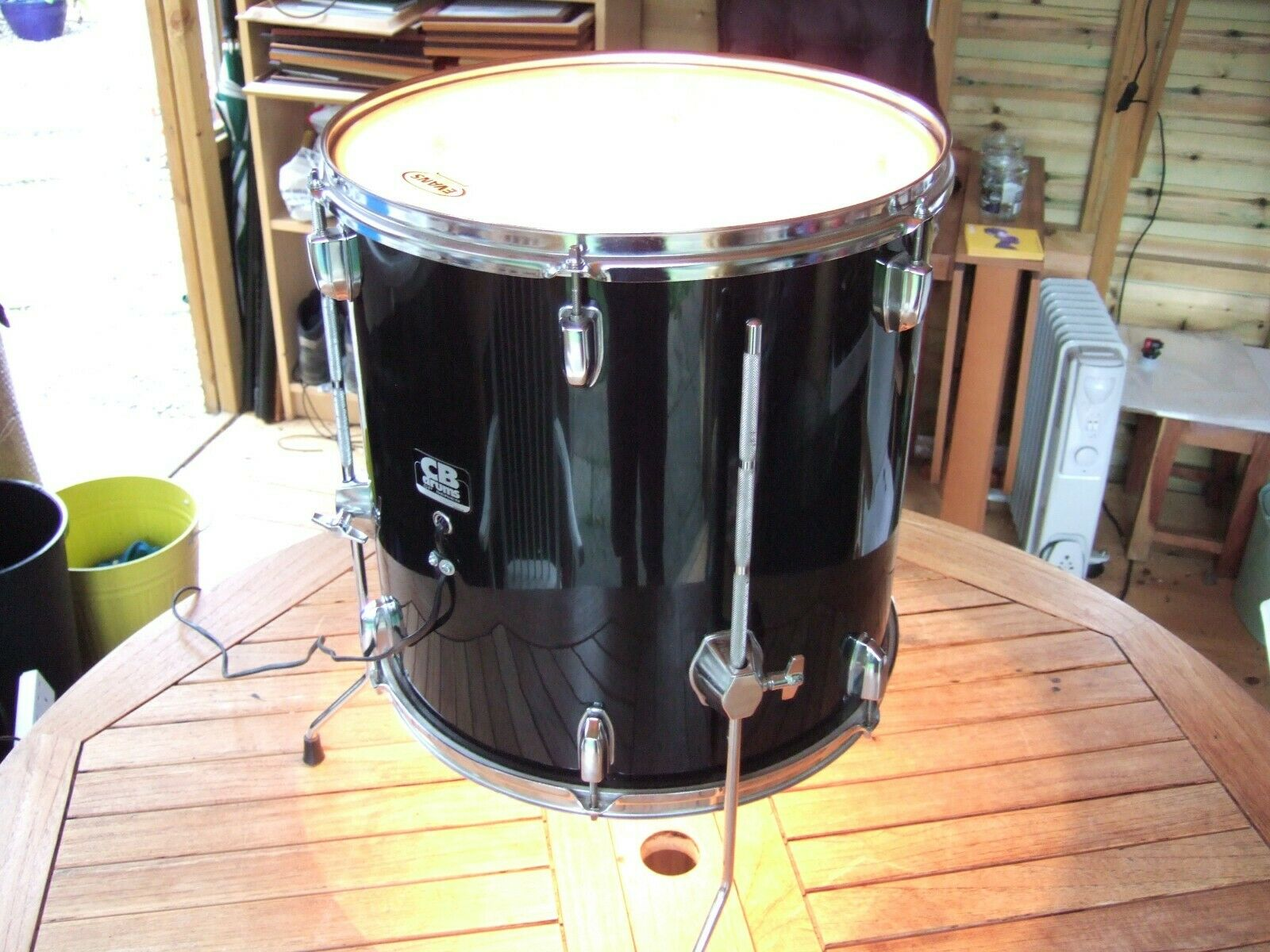 Fabulous Upcycled DRUM to LIGHT and TABLE. Floorstanding. Evens Level 360 Head.