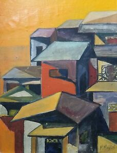 Haitian-Painting-by-Renown-Master-Michele-Manuel-16-034-X-12-034-On-Board-Haiti-Art